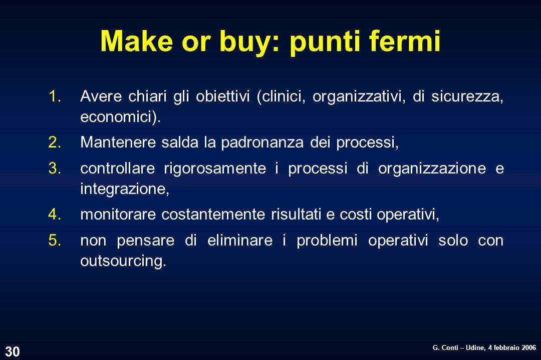 G. Conti – Udine, 4 febbraio 2006 30 Make or buy: punti fermi 1.Avere chiari gli obiettivi (clinici, organizzativi, di sicurezza, economici). 2.Manten