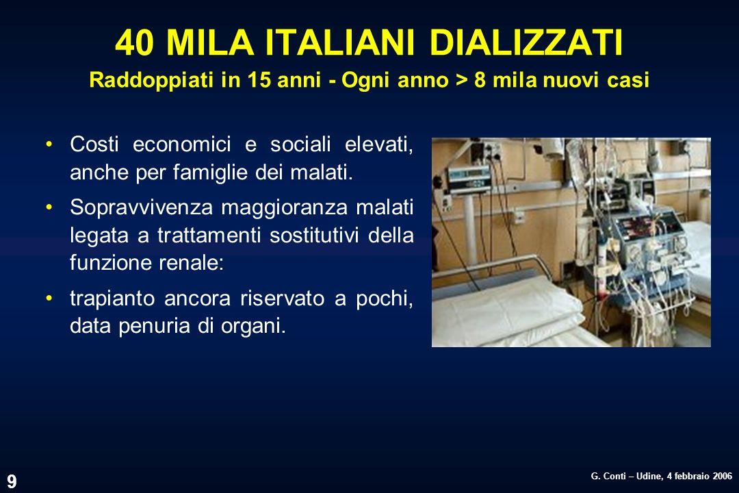 G. Conti – Udine, 4 febbraio 2006 9 40 MILA ITALIANI DIALIZZATI Raddoppiati in 15 anni - Ogni anno > 8 mila nuovi casi Costi economici e sociali eleva