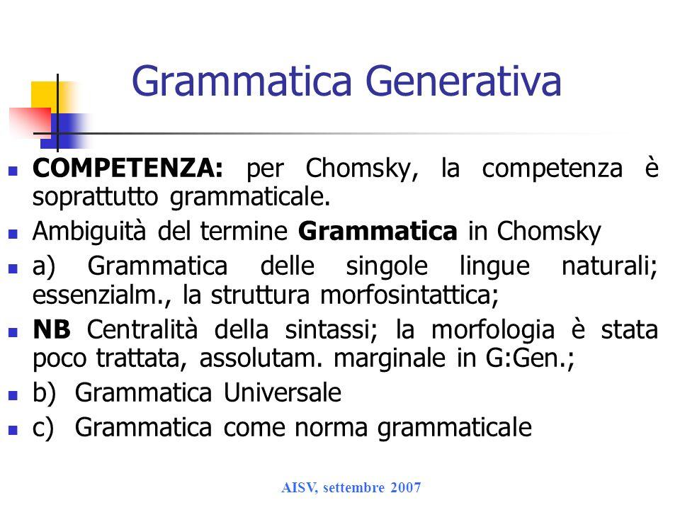AISV, settembre 2007 Grammatica Generativa COMPETENZA: per Chomsky, la competenza è soprattutto grammaticale. Ambiguità del termine Grammatica in Chom