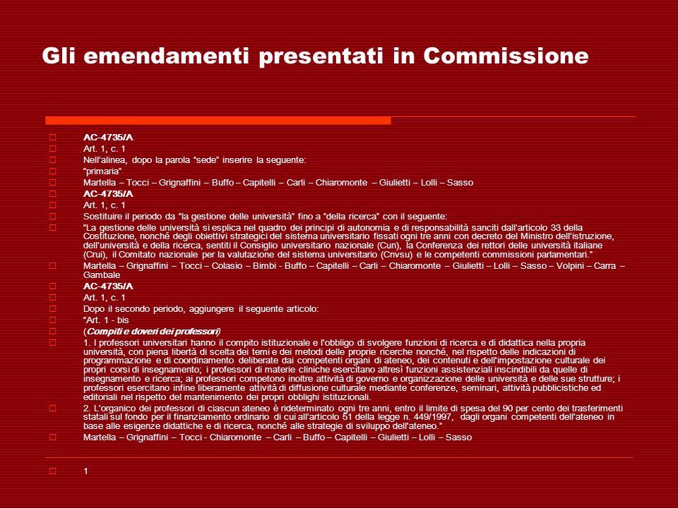 Gli emendamenti presentati in Commissione AC-4735/A Art. 1, c. 1 Nellalinea, dopo la parola sede inserire la seguente: primaria Martella – Tocci – Gri