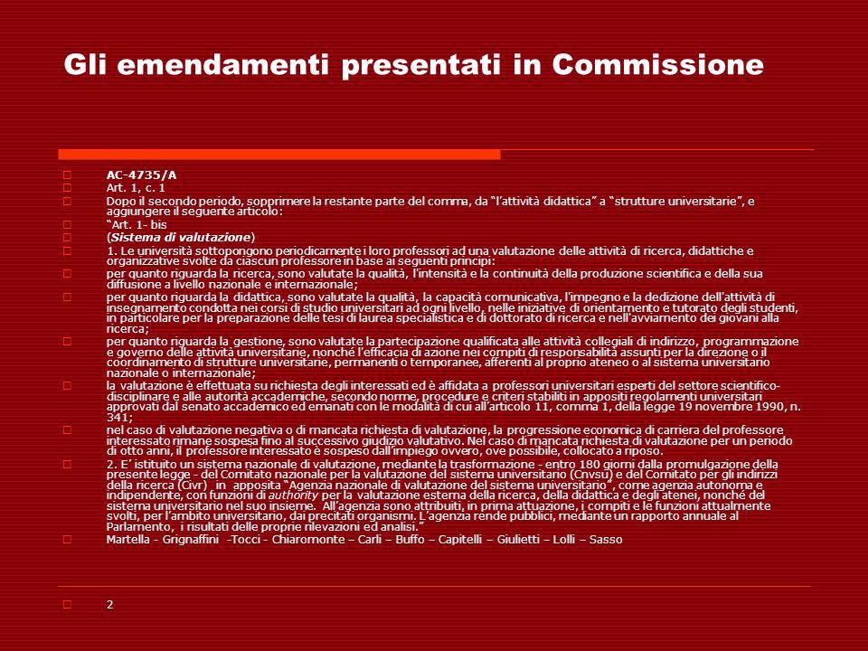 Gli emendamenti presentati in Commissione AC-4735/A Art. 1, c. 1 Dopo il secondo periodo, sopprimere la restante parte del comma, da lattività didatti