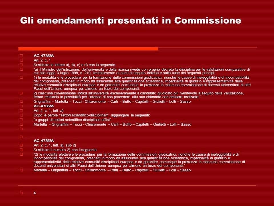 Gli emendamenti presentati in Commissione AC-4735/A Art. 2, c. 1 Sostituire le lettere a), b), c) e d) con la seguente: a) il Ministro dellistruzione,