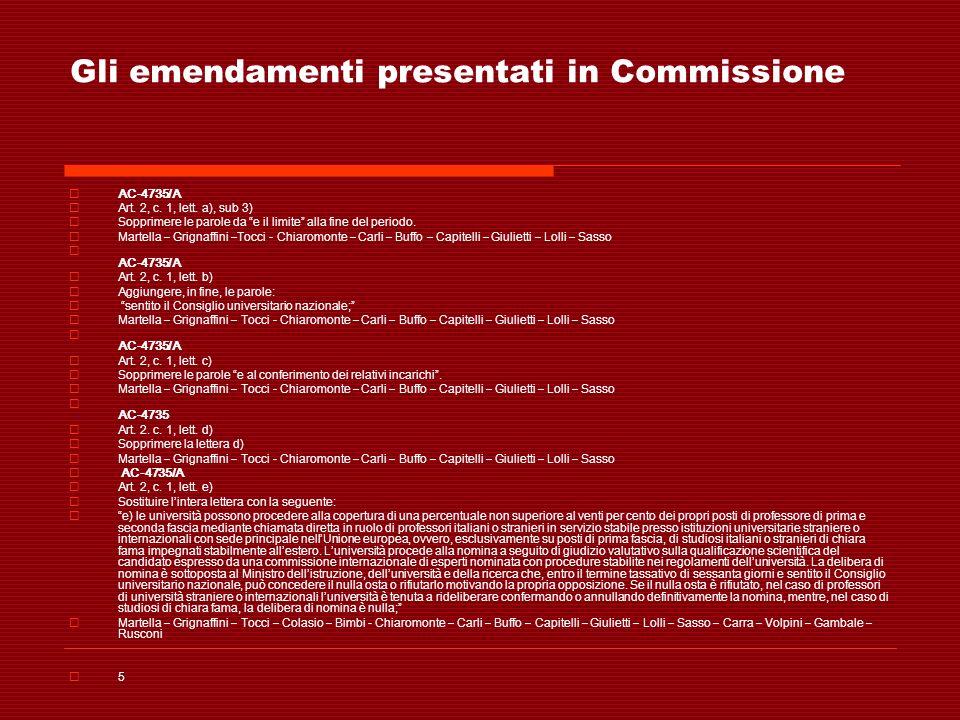 Gli emendamenti presentati in Commissione AC-4735/A Art. 2, c. 1, lett. a), sub 3) Sopprimere le parole da e il limite alla fine del periodo. Martella