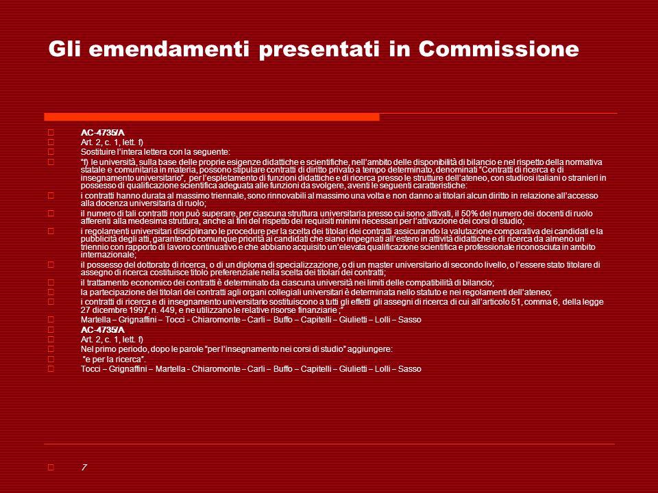 Gli emendamenti presentati in Commissione AC-4735/A Art. 2, c. 1, lett. f) Sostituire lintera lettera con la seguente: f) le università, sulla base de