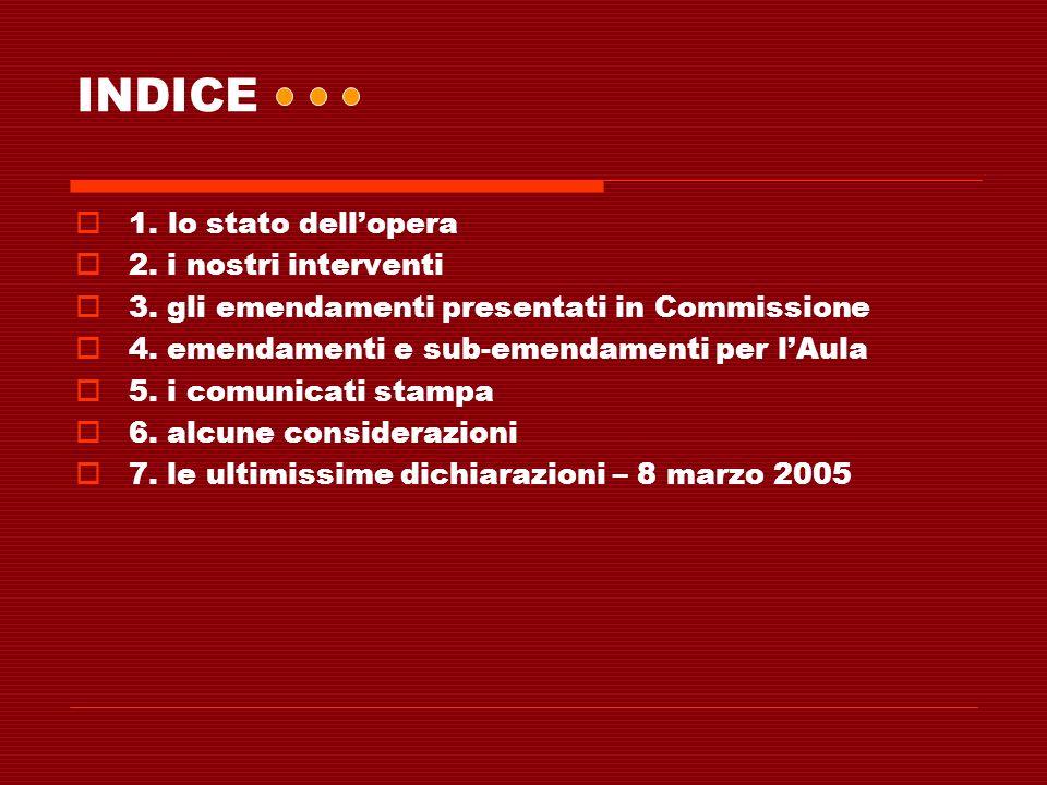 INDICE 1. lo stato dellopera 2. i nostri interventi 3. gli emendamenti presentati in Commissione 4. emendamenti e sub-emendamenti per lAula 5. i comun