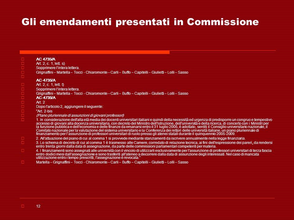 Gli emendamenti presentati in Commissione AC 4735/A Art. 2, c. 1, lett. s) Sopprimere lintera lettera. Grignaffini – Martella – Tocci - Chiaromonte –