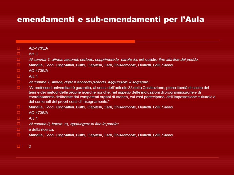 emendamenti e sub-emendamenti per lAula AC-4735/A Art. 1 Al comma 1, alinea, secondo periodo, sopprimere le parole da: nel quadro fino alla fine del p