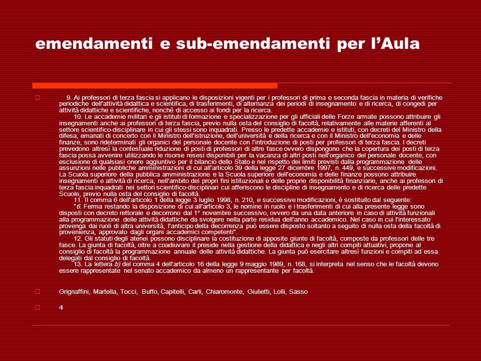 emendamenti e sub-emendamenti per lAula 9. Ai professori di terza fascia si applicano le disposizioni vigenti per i professori di prima e seconda fasc