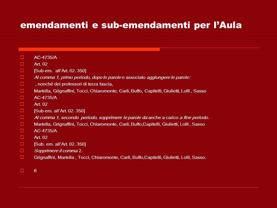 emendamenti e sub-emendamenti per lAula AC-4735/A Art. 02 [Sub-em. allArt. 02. 350] Al comma 1, primo periodo, dopo le parole e associato aggiungere l