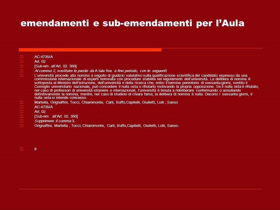 emendamenti e sub-emendamenti per lAula AC-4735/A Art. 02 [Sub-em. allArt. 02. 350] Al comma 2, sostituire le parole da A tale fine a fine periodo, co