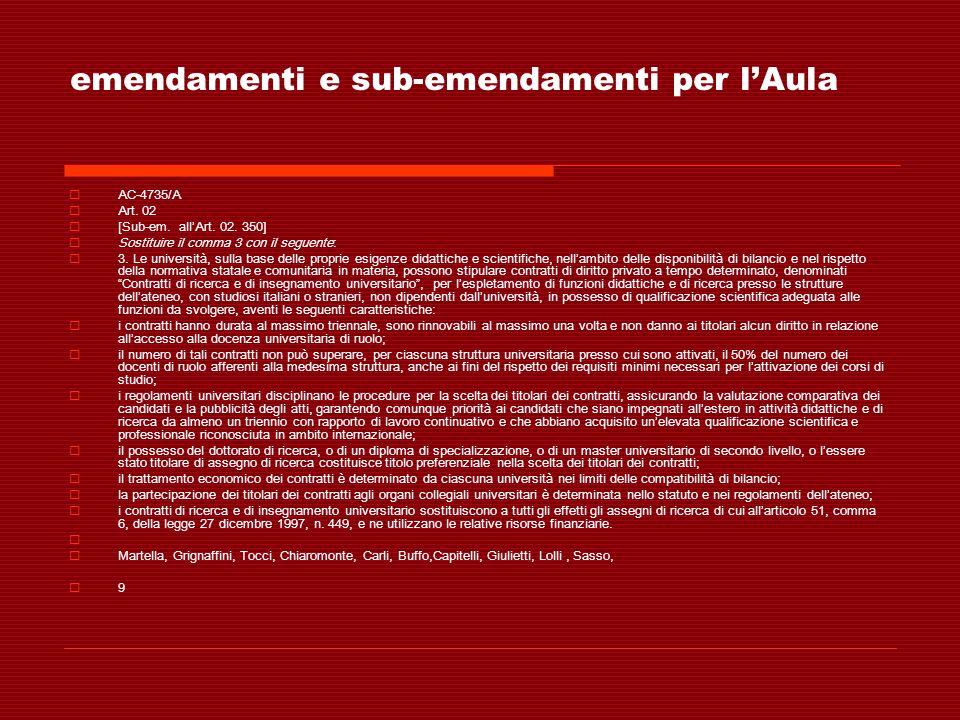 emendamenti e sub-emendamenti per lAula AC-4735/A Art. 02 [Sub-em. allArt. 02. 350] Sostituire il comma 3 con il seguente: 3. Le università, sulla bas