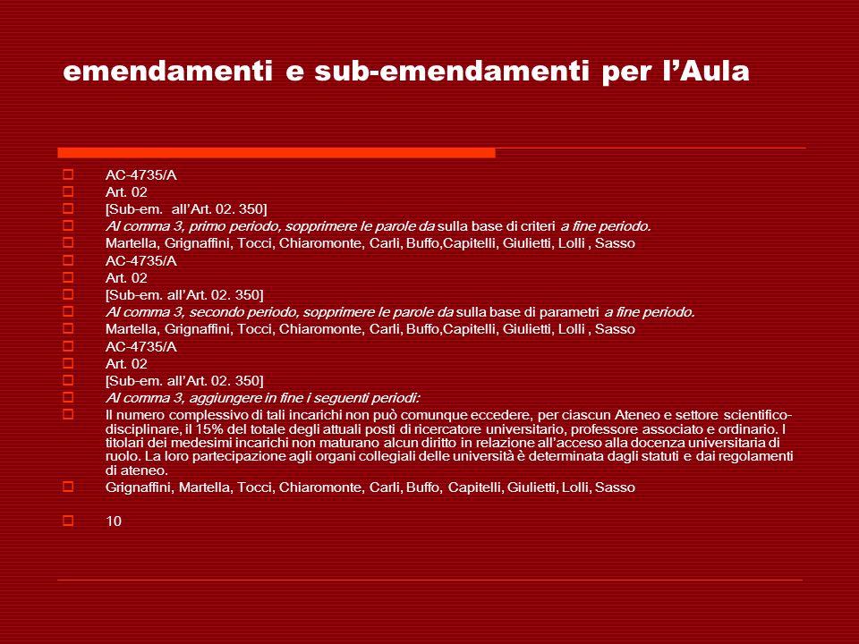 emendamenti e sub-emendamenti per lAula AC-4735/A Art. 02 [Sub-em. allArt. 02. 350] Al comma 3, primo periodo, sopprimere le parole da sulla base di c