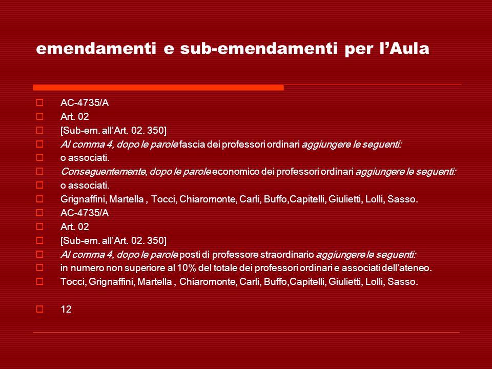 emendamenti e sub-emendamenti per lAula AC-4735/A Art. 02 [Sub-em. allArt. 02. 350] Al comma 4, dopo le parole fascia dei professori ordinari aggiunge