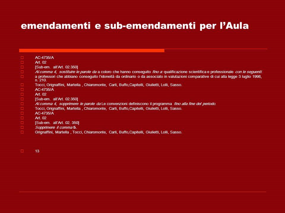 emendamenti e sub-emendamenti per lAula AC-4735/A Art. 02 [Sub-em. allArt. 02.350] Al comma 4, sostituire le parole da a coloro che hanno conseguito f