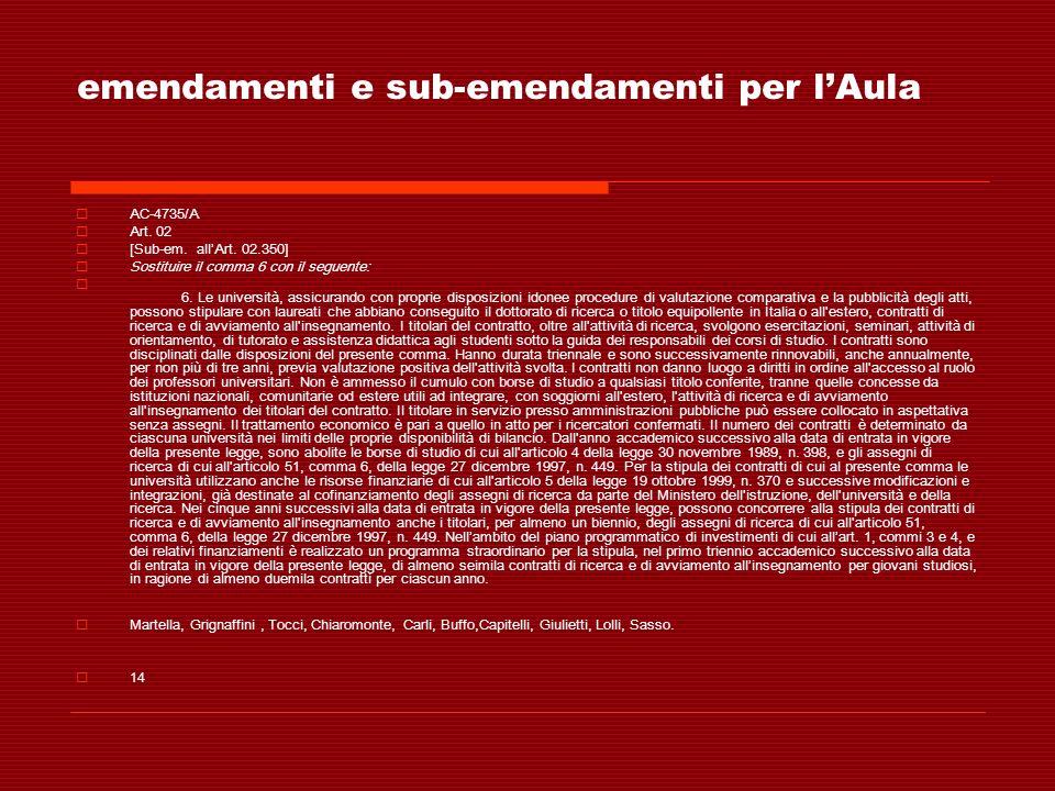 emendamenti e sub-emendamenti per lAula AC-4735/A Art. 02 [Sub-em. allArt. 02.350] Sostituire il comma 6 con il seguente: 6. Le università, assicurand