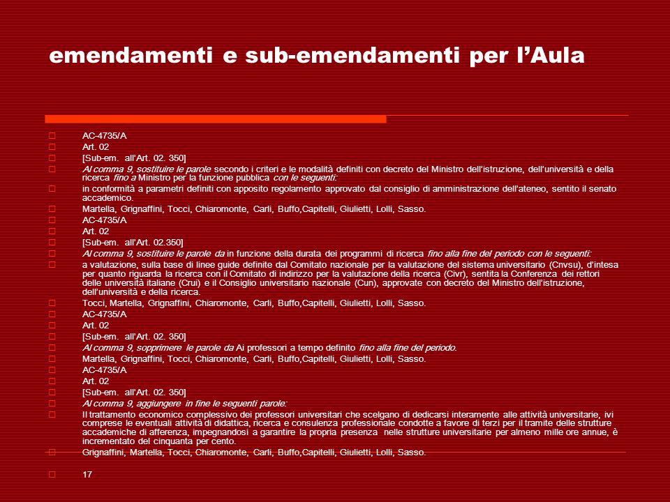emendamenti e sub-emendamenti per lAula AC-4735/A Art. 02 [Sub-em. allArt. 02. 350] Al comma 9, sostituire le parole secondo i criteri e le modalità d