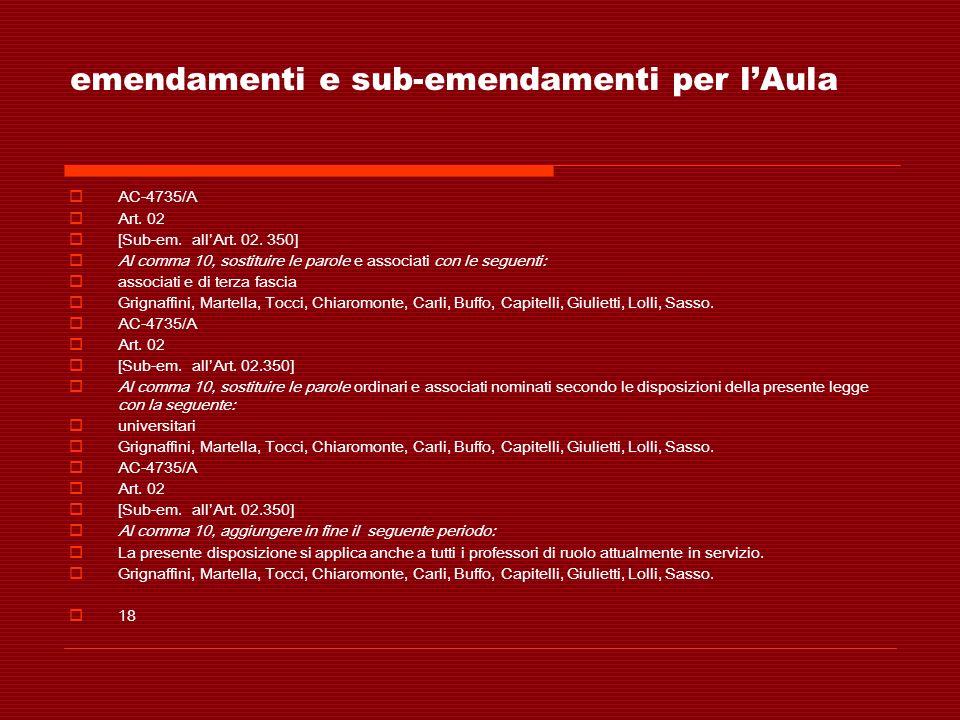 emendamenti e sub-emendamenti per lAula AC-4735/A Art. 02 [Sub-em. allArt. 02. 350] Al comma 10, sostituire le parole e associati con le seguenti: ass