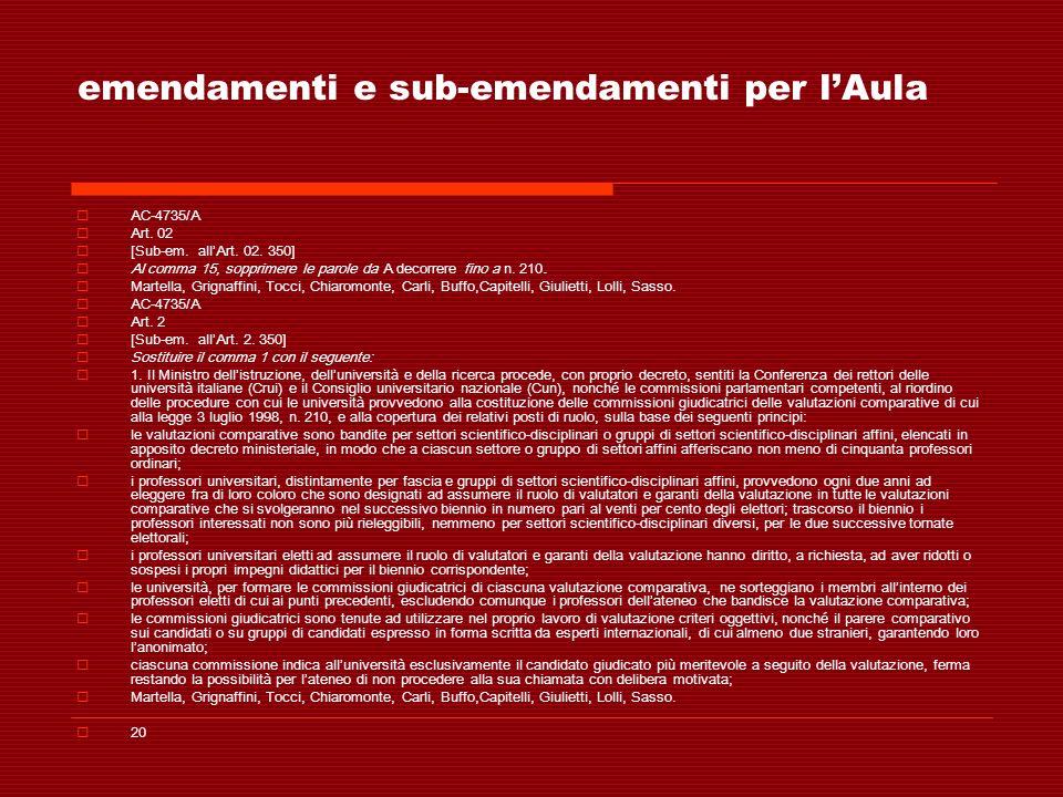 emendamenti e sub-emendamenti per lAula AC-4735/A Art. 02 [Sub-em. allArt. 02. 350] Al comma 15, sopprimere le parole da A decorrere fino a n. 210. Ma