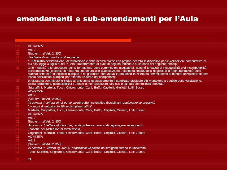 emendamenti e sub-emendamenti per lAula AC-4735/A Art. 2 [Sub-em. allArt. 2. 350] Sostituire il comma 1 con il seguente: 1. Il Ministro dellistruzione