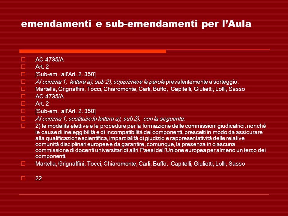 emendamenti e sub-emendamenti per lAula AC-4735/A Art. 2 [Sub-em. allArt. 2. 350] Al comma 1, lettera a), sub 2), sopprimere le parole prevalentemente
