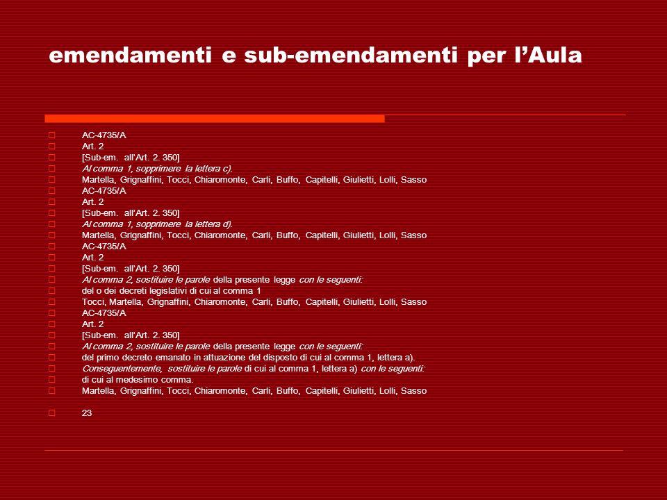 emendamenti e sub-emendamenti per lAula AC-4735/A Art. 2 [Sub-em. allArt. 2. 350] Al comma 1, sopprimere la lettera c). Martella, Grignaffini, Tocci,