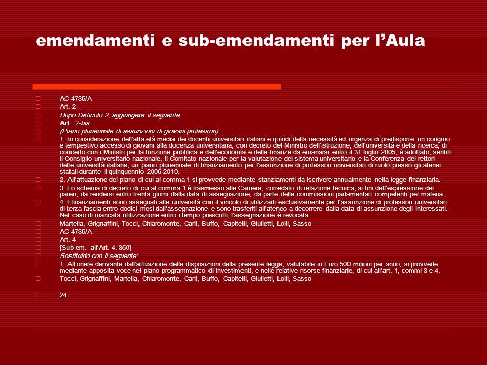 emendamenti e sub-emendamenti per lAula AC-4735/A Art. 2 Dopo larticolo 2, aggiungere il seguente: Art. 2-bis (Piano pluriennale di assunzioni di giov