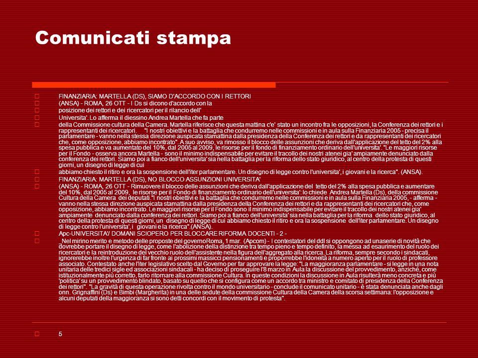 Comunicati stampa FINANZIARIA: MARTELLA (DS), SIAMO D'ACCORDO CON I RETTORI (ANSA) - ROMA, 26 OTT - I Ds si dicono d'accordo con la posizione dei rett