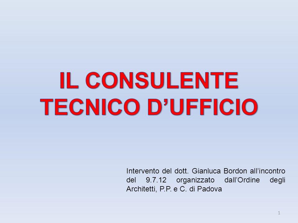 1 Intervento del dott. Gianluca Bordon allincontro del 9.7.12 organizzato dallOrdine degli Architetti, P.P. e C. di Padova