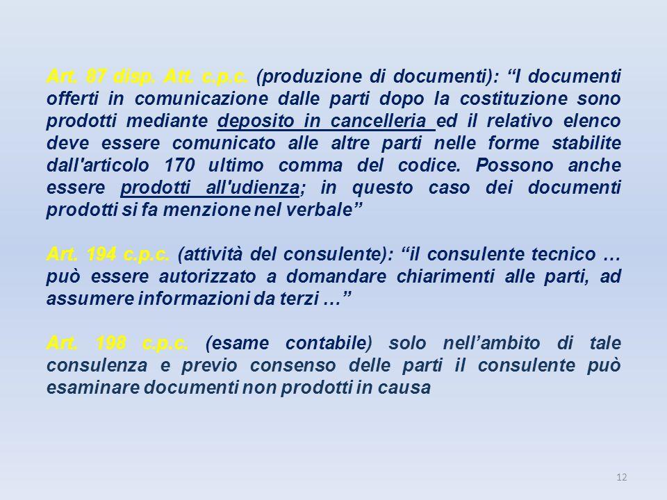 12 Art. 87 disp. Att. c.p.c. (produzione di documenti): I documenti offerti in comunicazione dalle parti dopo la costituzione sono prodotti mediante d