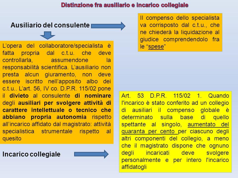 33 Ausiliario del consulente Incarico collegiale Lopera del collaboratore/specialista è fatta propria dal c.t.u. che deve controllarla, assumendone la