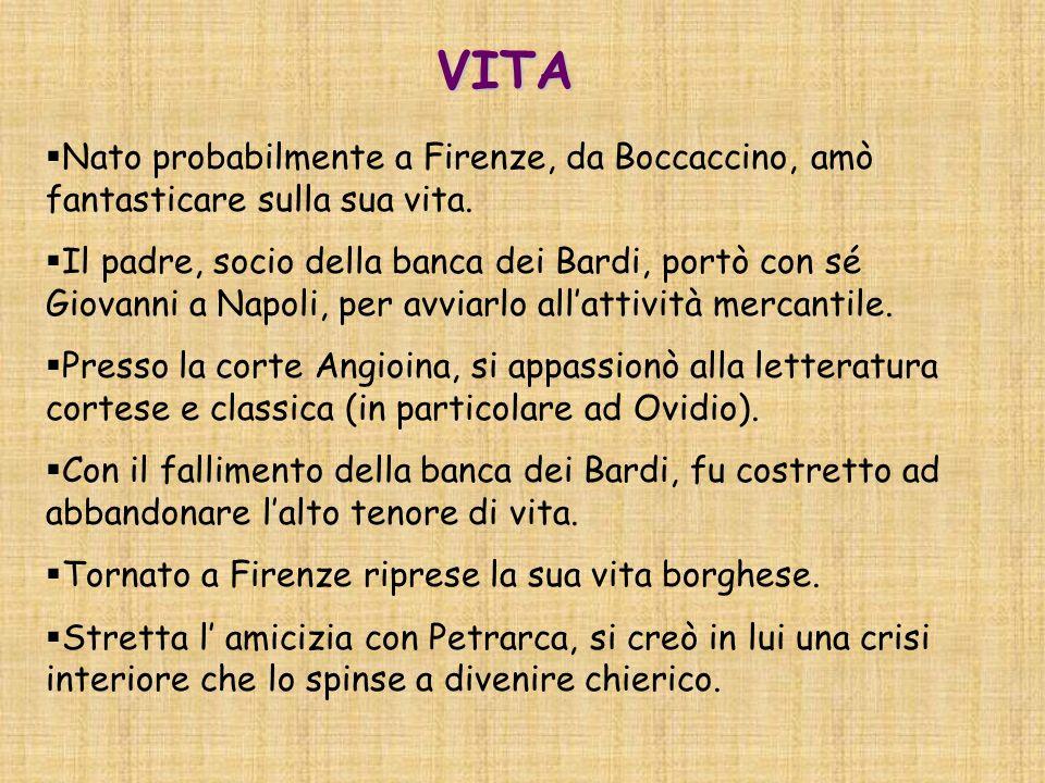 VITA Nato probabilmente a Firenze, da Boccaccino, amò fantasticare sulla sua vita.
