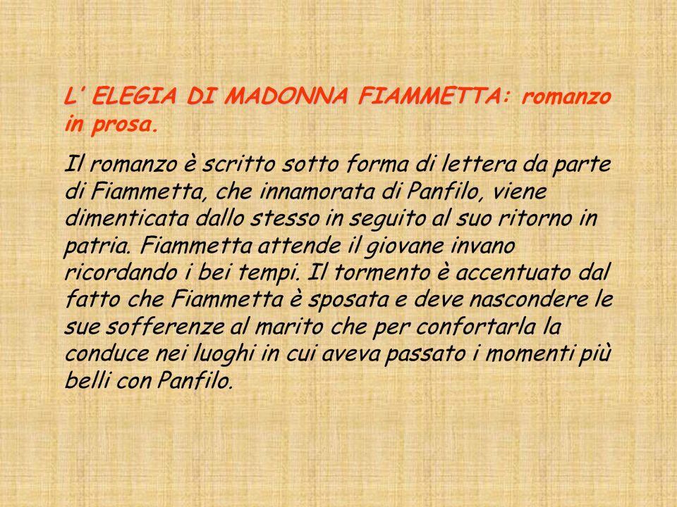 L ELEGIA DI MADONNA FIAMMETTA L ELEGIA DI MADONNA FIAMMETTA: romanzo in prosa.