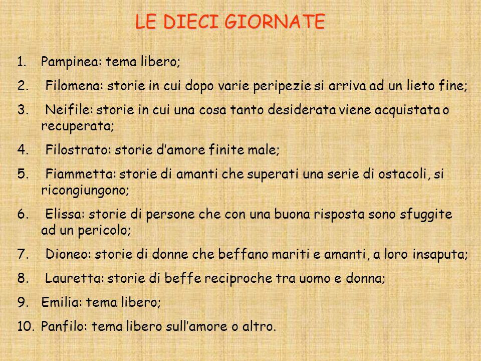LE DIECI GIORNATE 1.Pampinea: tema libero; 2.