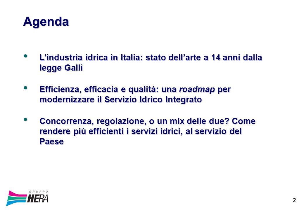 2 Agenda Lindustria idrica in Italia: stato dellarte a 14 anni dalla legge Galli Lindustria idrica in Italia: stato dellarte a 14 anni dalla legge Galli Efficienza, efficacia e qualità: una roadmap per modernizzare il Servizio Idrico Integrato Efficienza, efficacia e qualità: una roadmap per modernizzare il Servizio Idrico Integrato Concorrenza, regolazione, o un mix delle due.