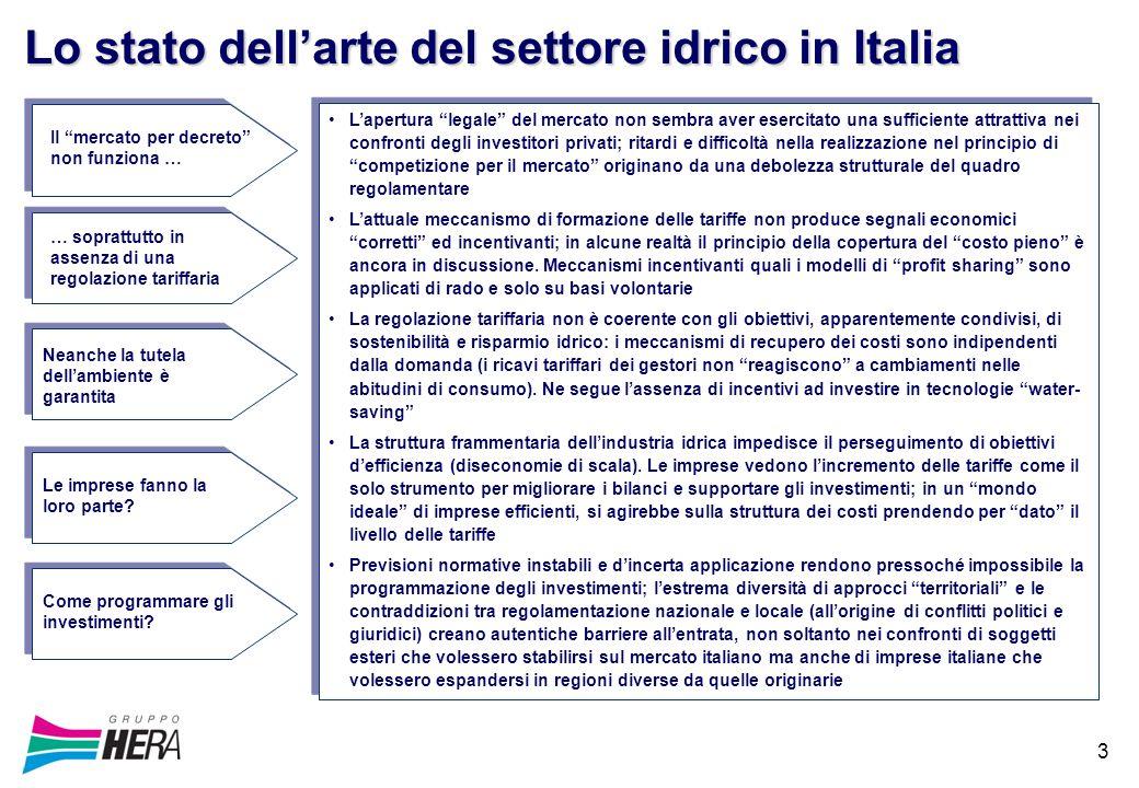 3 Lo stato dellarte del settore idrico in Italia Lapertura legale del mercato non sembra aver esercitato una sufficiente attrattiva nei confronti degl