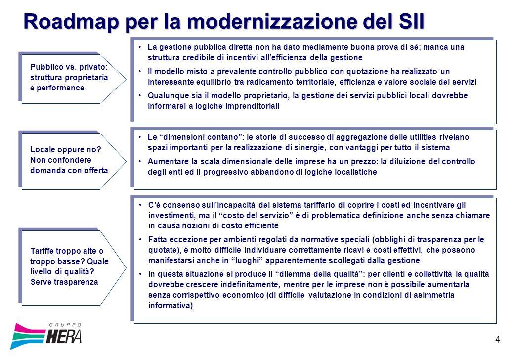 4 Roadmap per la modernizzazione del SII La gestione pubblica diretta non ha dato mediamente buona prova di sé; manca una struttura credibile di incen