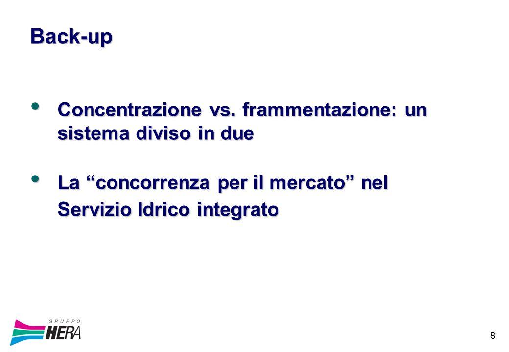 8 Back-up Concentrazione vs. frammentazione: un sistema diviso in due Concentrazione vs.