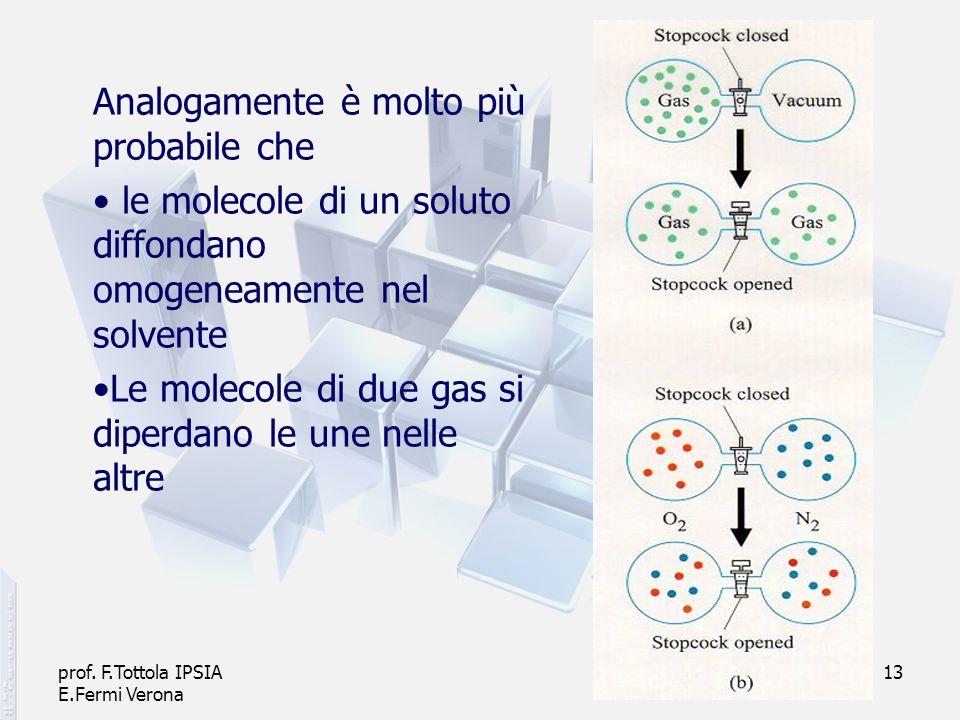 prof. F.Tottola IPSIA E.Fermi Verona 13 Analogamente è molto più probabile che le molecole di un soluto diffondano omogeneamente nel solvente Le molec