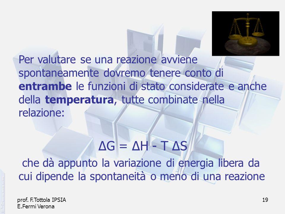 prof. F.Tottola IPSIA E.Fermi Verona 19 Per valutare se una reazione avviene spontaneamente dovremo tenere conto di entrambe le funzioni di stato cons