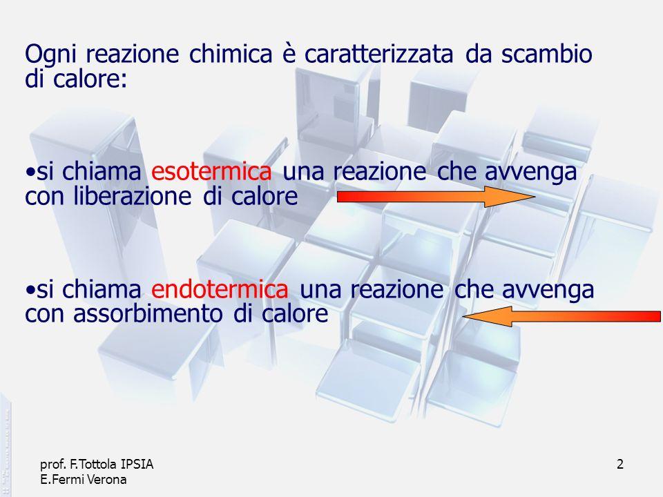 prof. F.Tottola IPSIA E.Fermi Verona 2 Ogni reazione chimica è caratterizzata da scambio di calore: si chiama esotermica una reazione che avvenga con