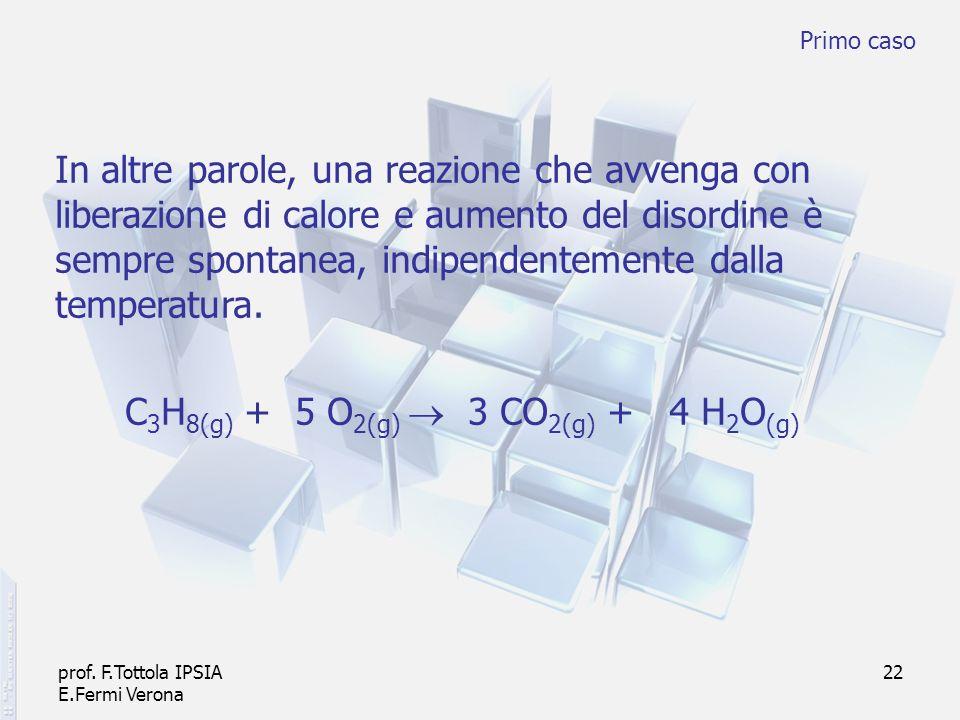prof. F.Tottola IPSIA E.Fermi Verona 22 In altre parole, una reazione che avvenga con liberazione di calore e aumento del disordine è sempre spontanea