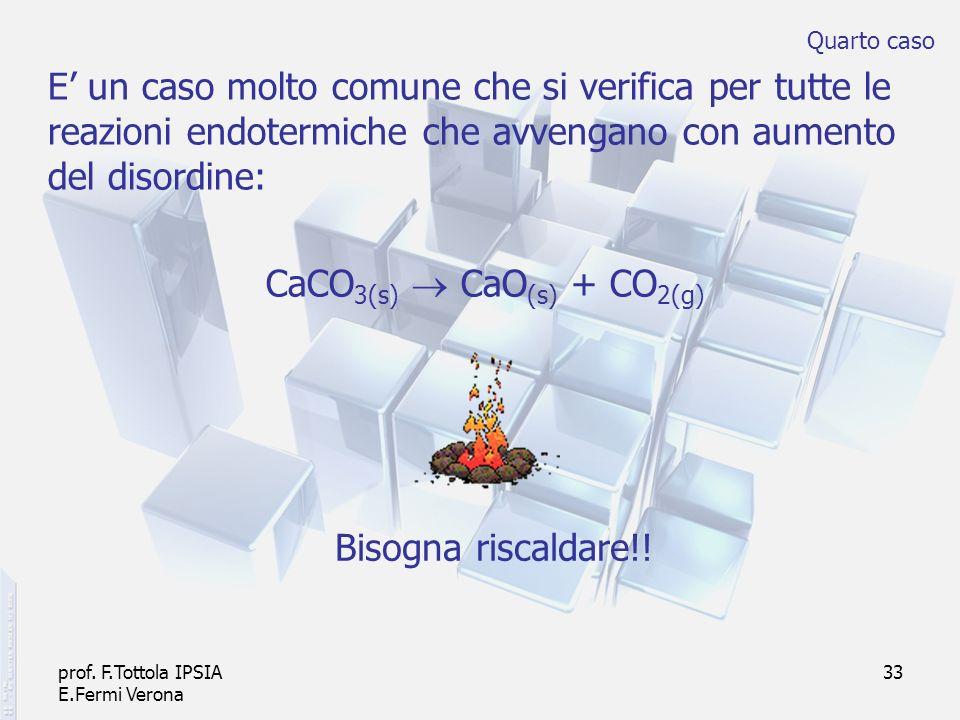 prof. F.Tottola IPSIA E.Fermi Verona 33 E un caso molto comune che si verifica per tutte le reazioni endotermiche che avvengano con aumento del disord