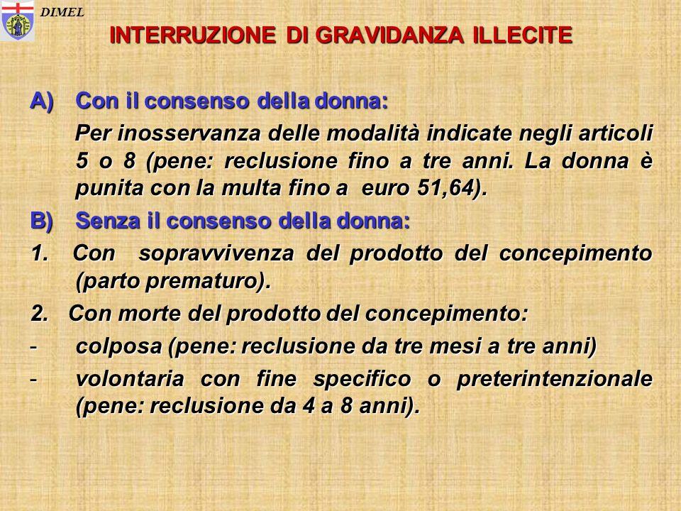 INTERRUZIONE DI GRAVIDANZA ILLECITE A)Con il consenso della donna: Per inosservanza delle modalità indicate negli articoli 5 o 8 (pene: reclusione fin