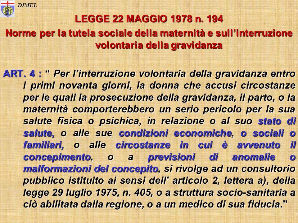 LEGGE 22 MAGGIO 1978 n. 194 Norme per la tutela sociale della maternità e sullinterruzione volontaria della gravidanza ART. 4 : Per linterruzione volo