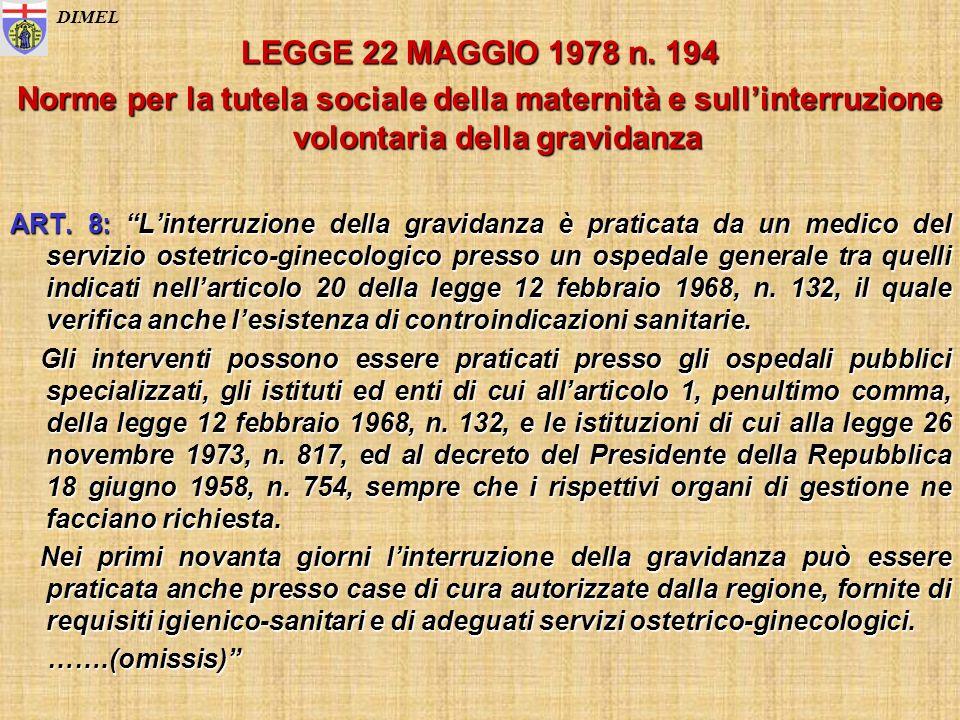 LEGGE 22 MAGGIO 1978 n. 194 Norme per la tutela sociale della maternità e sullinterruzione volontaria della gravidanza ART. 8: Linterruzione della gra
