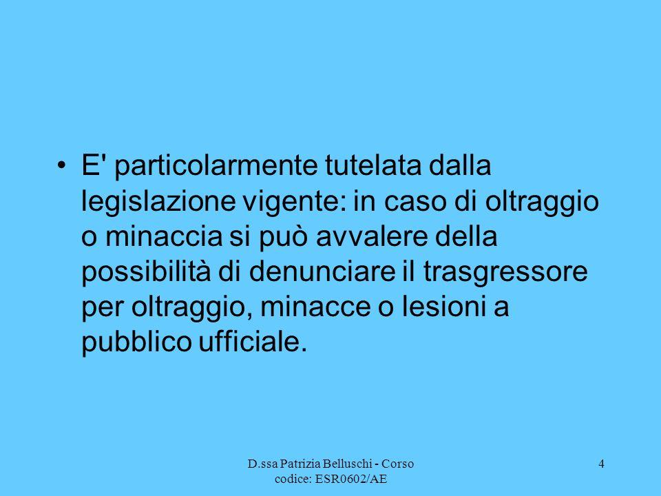 D.ssa Patrizia Belluschi - Corso codice: ESR0602/AE 4 E' particolarmente tutelata dalla legislazione vigente: in caso di oltraggio o minaccia si può a