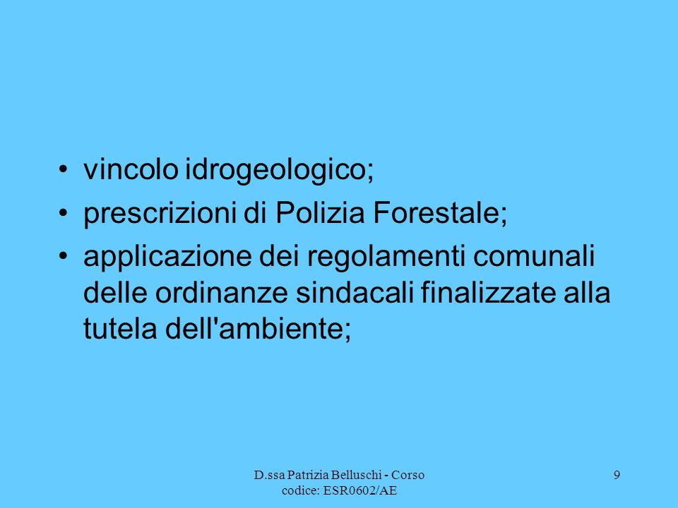 D.ssa Patrizia Belluschi - Corso codice: ESR0602/AE 9 vincolo idrogeologico; prescrizioni di Polizia Forestale; applicazione dei regolamenti comunali