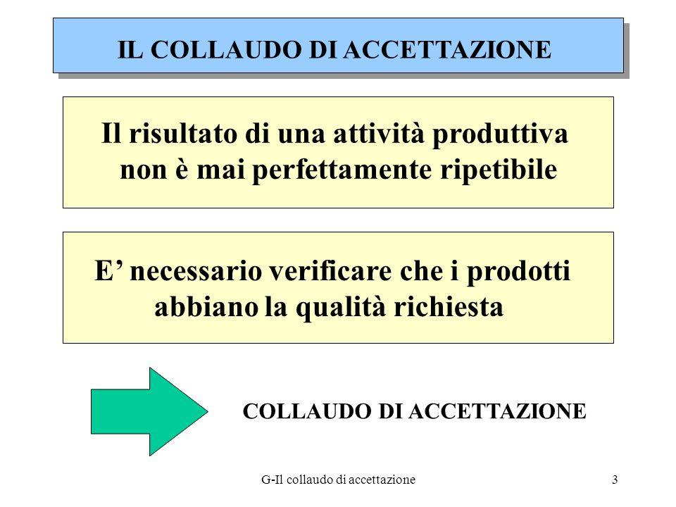 G-Il collaudo di accettazione3 Il risultato di una attività produttiva non è mai perfettamente ripetibile E necessario verificare che i prodotti abbia