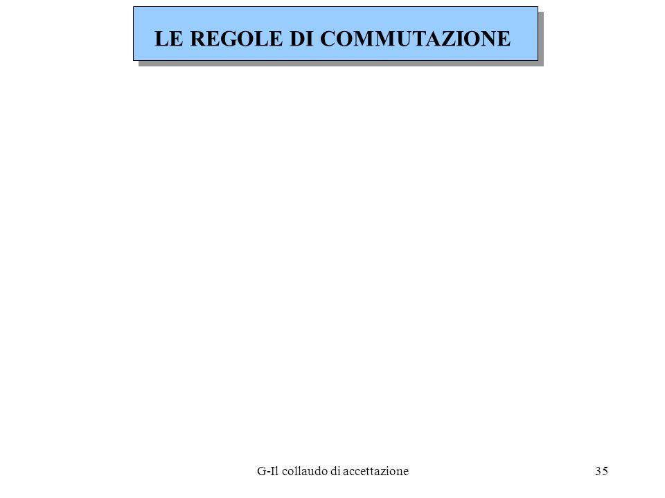 G-Il collaudo di accettazione35 LE REGOLE DI COMMUTAZIONE