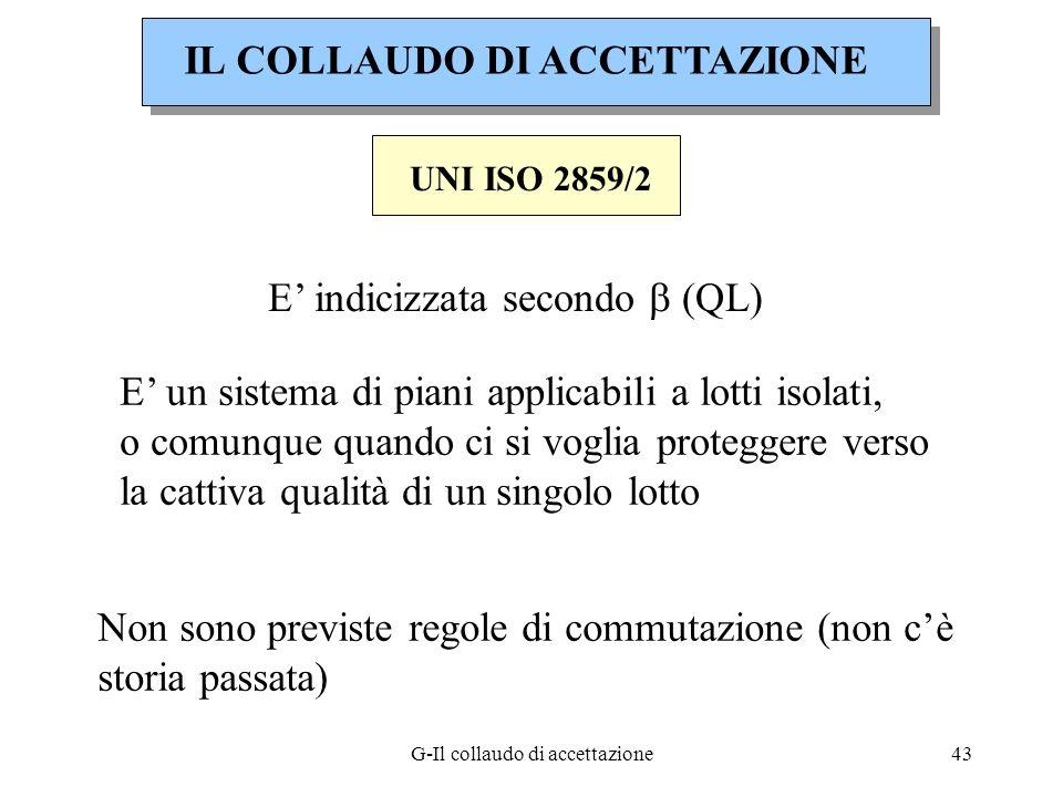 G-Il collaudo di accettazione43 UNI ISO 2859/2 E indicizzata secondo (QL) E un sistema di piani applicabili a lotti isolati, o comunque quando ci si v